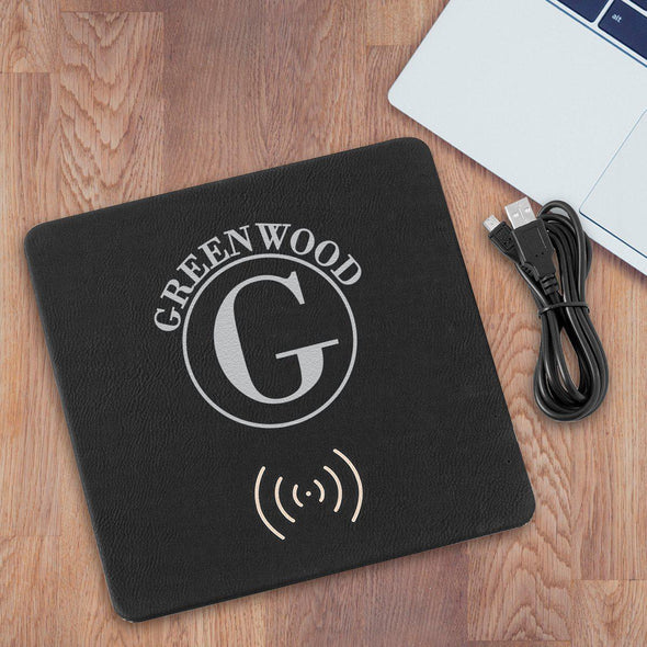 Personalized Black & Silver Charging Pad Gift - Circle - JDS