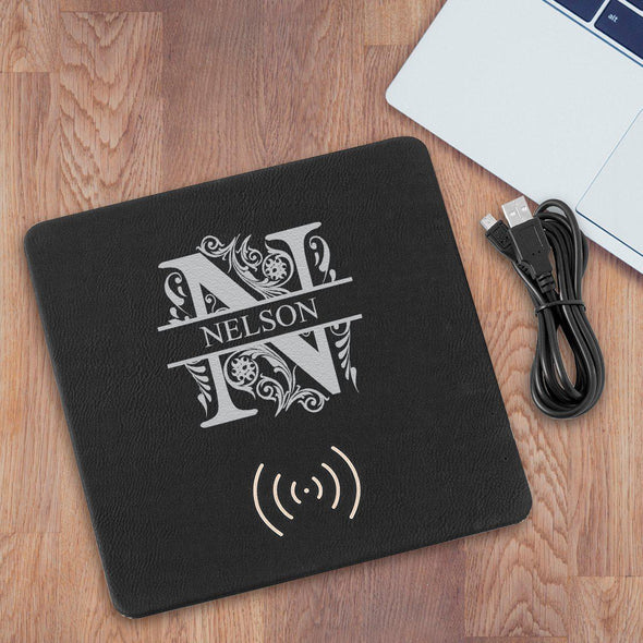 Personalized Black & Silver Charging Pad Gift - Filigree - JDS