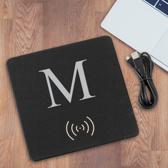 Personalized Black & Silver Charging Pad Gift - SingleInitial - JDS