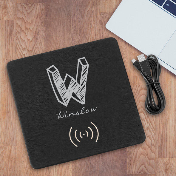 Personalized Black & Silver Charging Pad - Kate - JDS