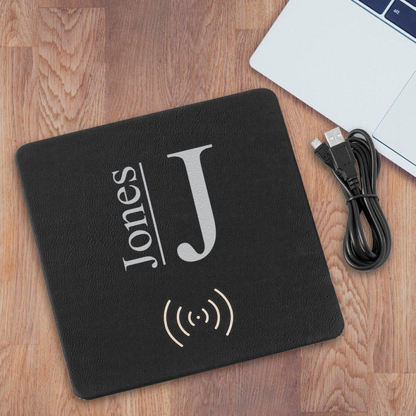 Personalized Black & Silver Charging Pad Gift - Modern - JDS