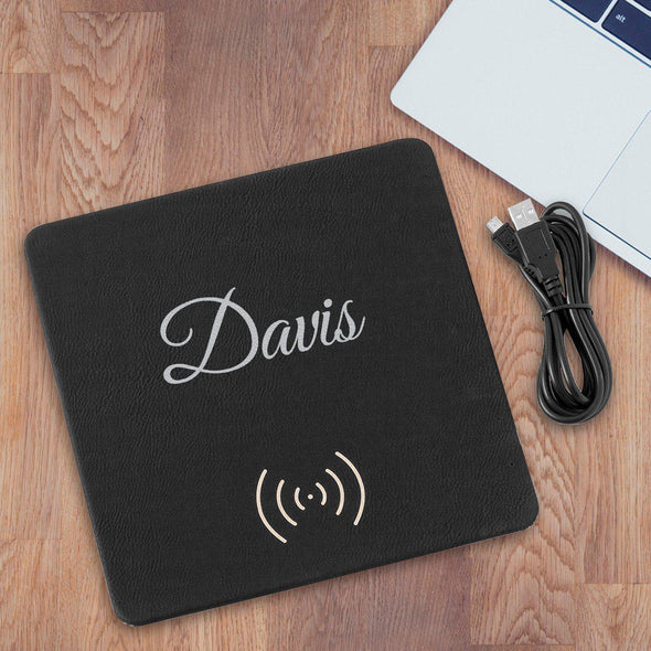 Personalized Black & Silver Charging Pad Gift - Script - JDS