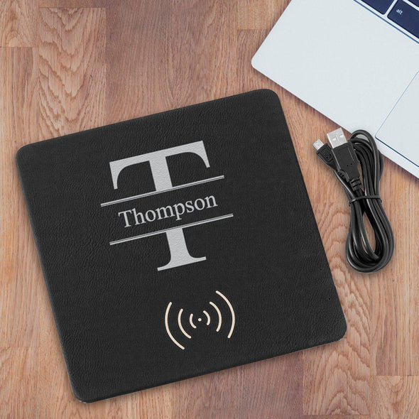 Personalized Black & Silver Charging Pad Gift - Stamped - JDS