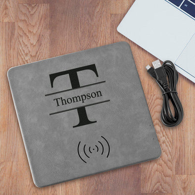 Personalized Gray Charging Pad - Stamped - JDS