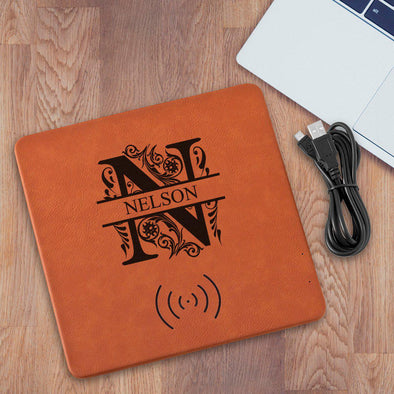 Personalized Leatherette Rawhide Charging Pad - Filigree - JDS