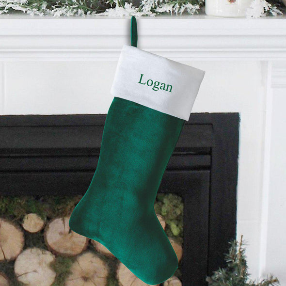 Personalized Cashmere Christmas Stocking - Green - JDS