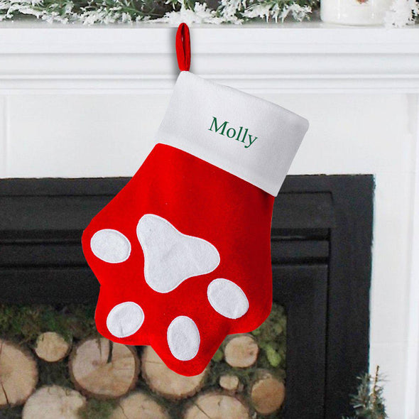 Personalized Pet Paw Christmas Stocking -  - JDS