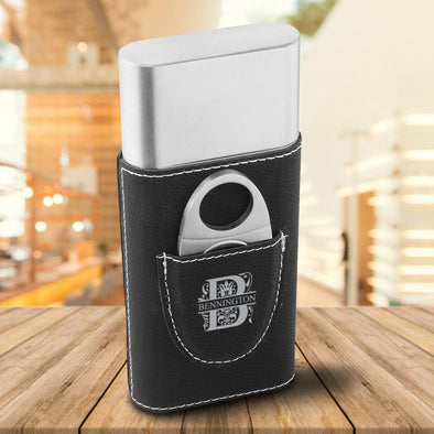 Personalized Cigar Holder - Black - Filigree - JDS