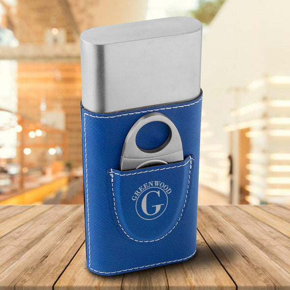Personalized Cigar Holder - Blue - Circle - JDS