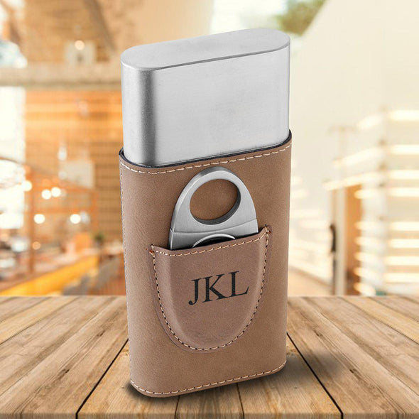Personalized Cigar Holder - Tan - 3Initials - JDS