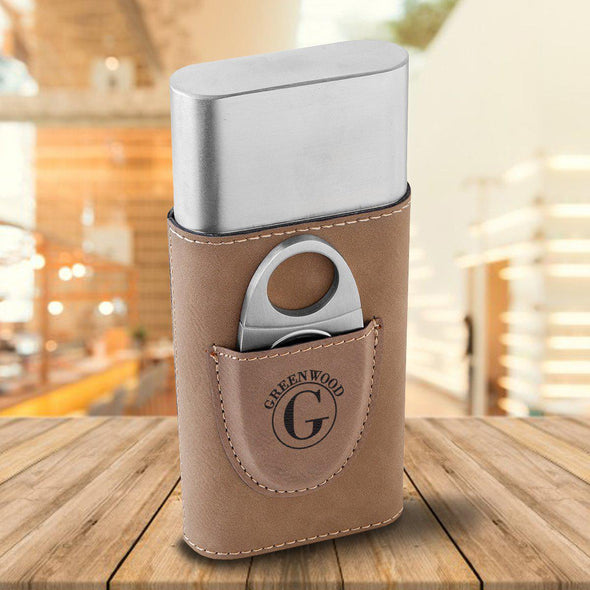 Personalized Cigar Holder - Tan - Circle - JDS