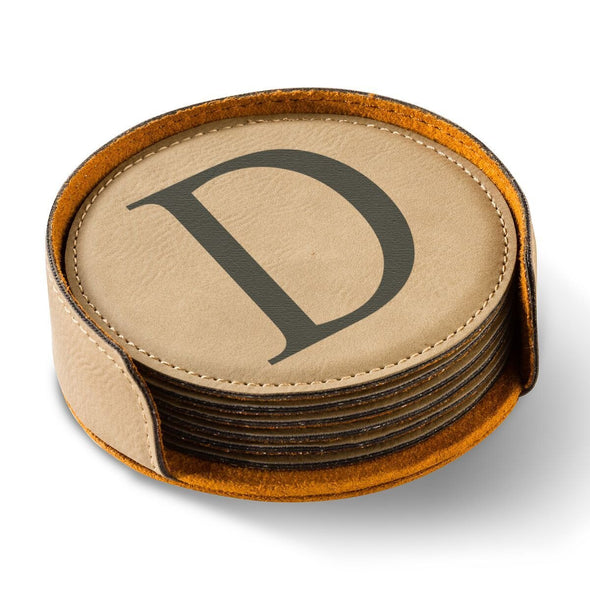 Personalized Round Leatherette Coaster Set - Available in Black, Dark Brown, Light Brown, and Rawhide - LightBrown - JDS