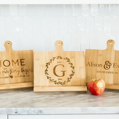 Personalized Bamboo Cookbook Holder -  - Qualtry