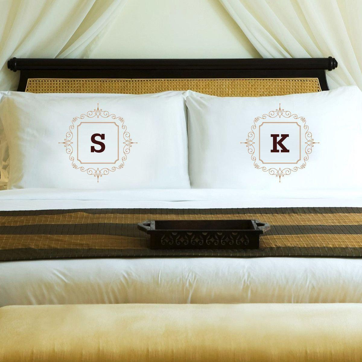 Personalized Initial Motif Couples 39 Pillow Cases