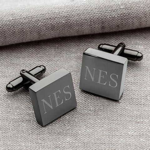 Personalized Cufflinks - Gunmetal - Square - Groomsmen Gifts -