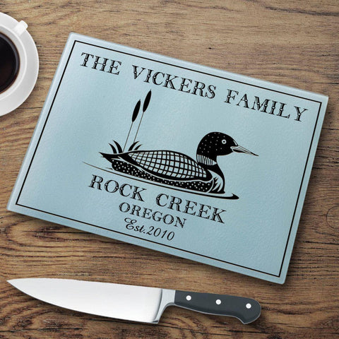 Personalized Cutting Boards - Glass - Cabin Decor - Cabin Series - Loon - Cabin Decor - AGiftPersonalized