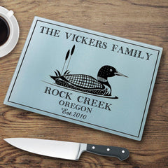 Personalized Cutting Boards - Glass - Cabin Decor - Cabin Series - Loon