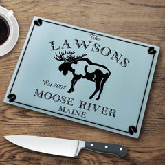 Personalized Cutting Boards - Glass - Cabin Decor - Cabin Series - Moose - Cabin Decor - AGiftPersonalized