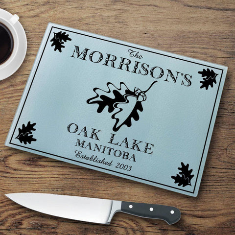 Personalized Cutting Boards - Glass - Cabin Decor - Cabin Series - Oak - Cabin Decor - AGiftPersonalized