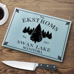 Personalized Cutting Boards - Glass - Cabin Decor - Cabin Series - Spruce