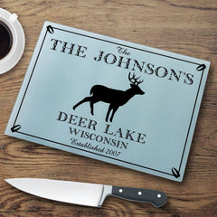 Personalized Cutting Boards - Glass - Cabin Decor - Cabin Series - Stag - Cabin Decor - AGiftPersonalized