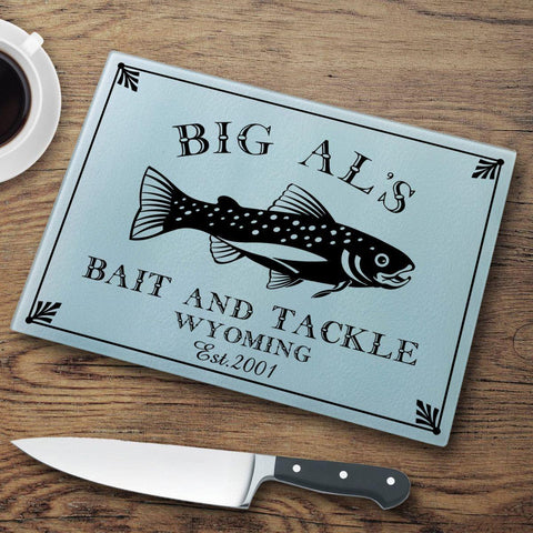 Personalized Cutting Boards - Glass - Cabin Decor - Cabin Series - Trout