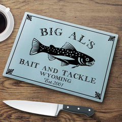 Personalized Cutting Boards - Glass - Cabin Decor - Cabin Series - Trout - Cabin Decor - AGiftPersonalized