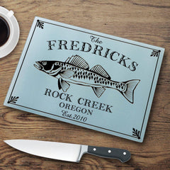 Personalized Cutting Boards - Glass - Cabin Decor - Cabin Series - Walleye