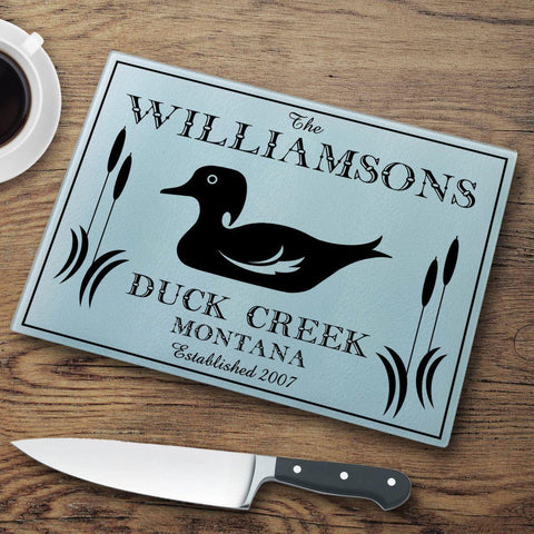 Personalized Cutting Boards - Glass - Cabin Decor - Cabin Series - Duck - Cabin Decor - AGiftPersonalized