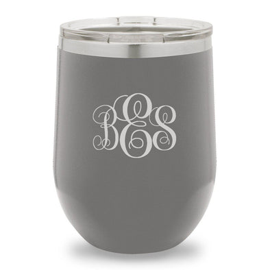 12 oz. Insulated Wine Tumbler - Dark Gray - InterlockingMonogram - JDS