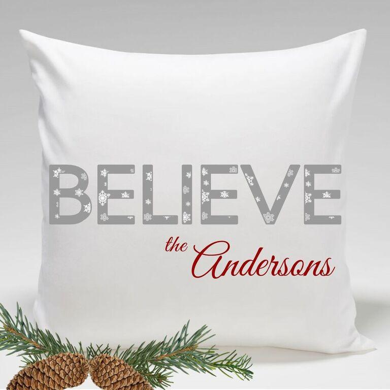 Personalized Believe Holiday Throw Pillows