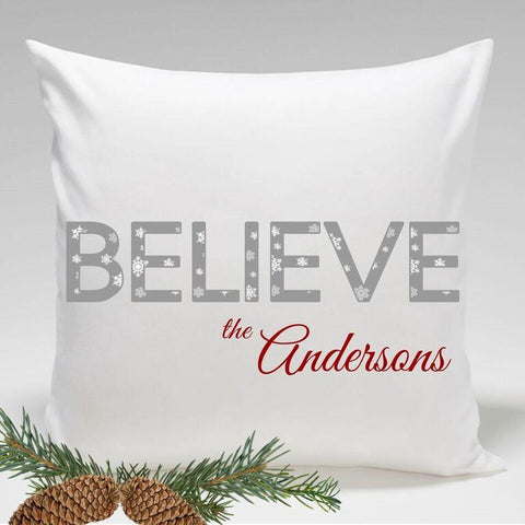 Personalized Holiday Throw Pillows - Believe -