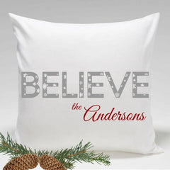 Personalized Holiday Throw Pillows - Believe