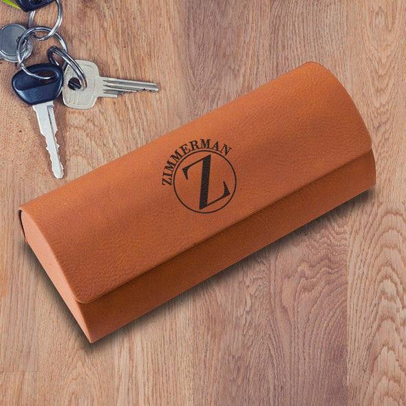 Personalized Eyeglass Case - Rawhide - Circle - JDS