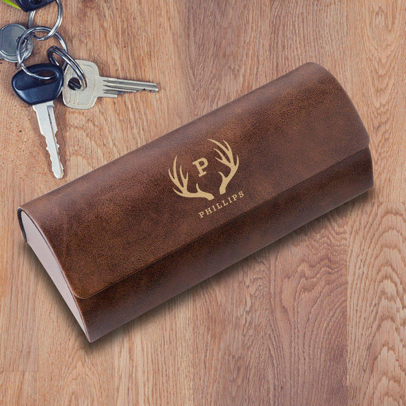 Personalized Eyeglass Case - Rustic Brown - Antlers - JDS