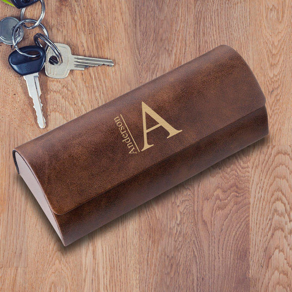 Personalized Eyeglass Case - Rustic Brown - Stamped - JDS