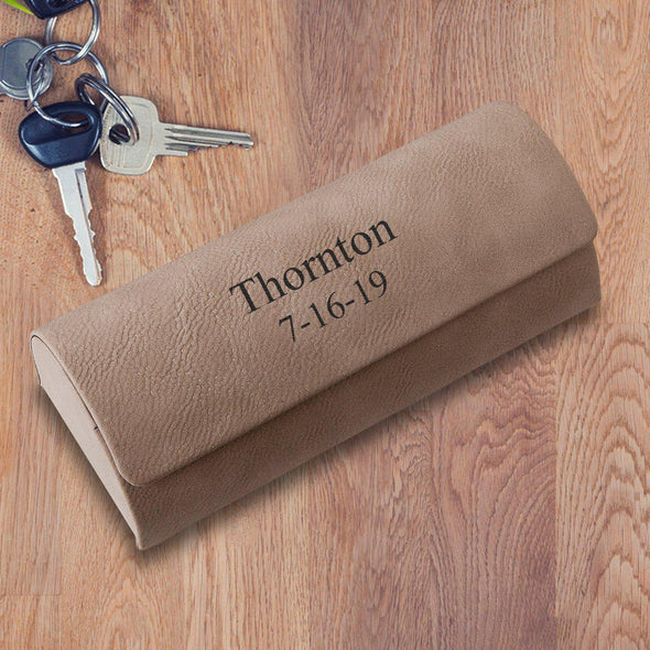 Personalized Eyeglass Case - Tan - 2Lines - JDS