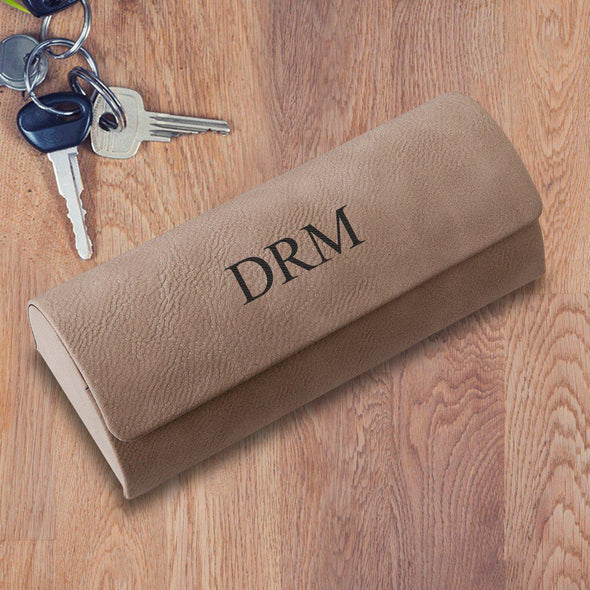 Personalized Eyeglass Case - Tan - 3Initials - JDS