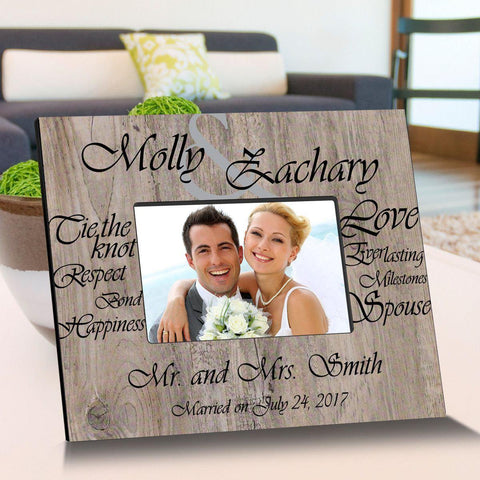 Personalized Tying The Knot Wooden Picture Frames - Black - Frames - AGiftPersonalized