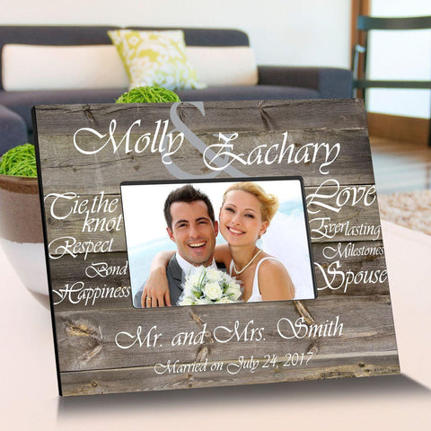 Personalized Tying The Knot Wooden Picture Frames - White - Frames - AGiftPersonalized