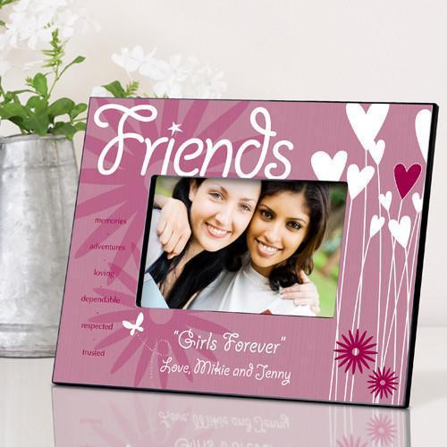 Personalized Heart and Flowers Picture Frame - Friends - JDS