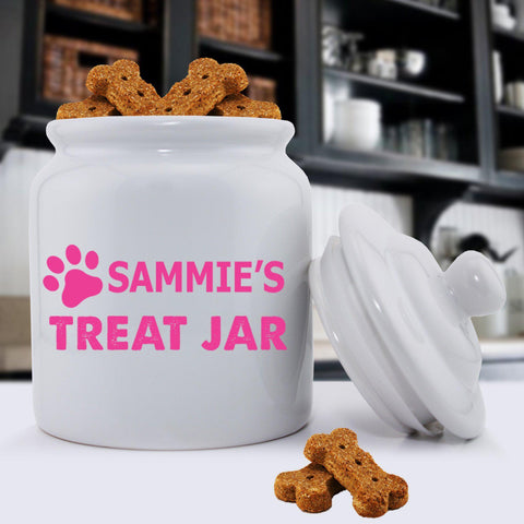 Personalized Colorful Classic Dog Treat Jars - Happy Paws - Pink - Pet Gifts - AGiftPersonalized