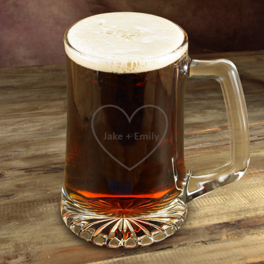 Etched Heart Couples Beer Mugs 25 oz