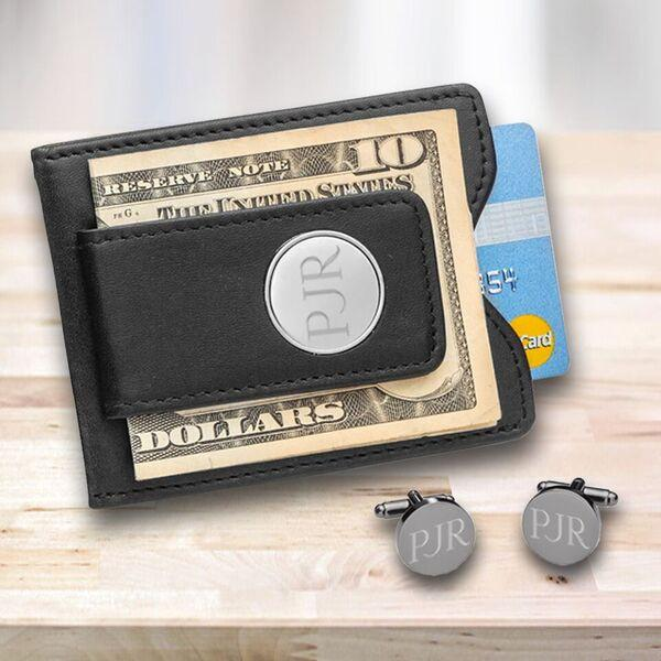 Personalized Black Leather Money Clip & Gunmetal Cuff Links Gift Set