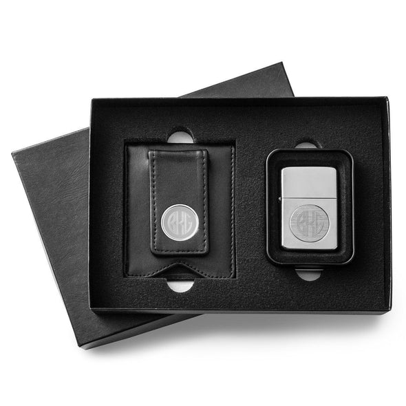 Personalized Black Leather Wallet & Chrome Lighter Set -  - JDS