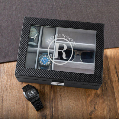 Personalized Watch Box & Sunglasses Box - Combo - Monogram - Circle - JDS