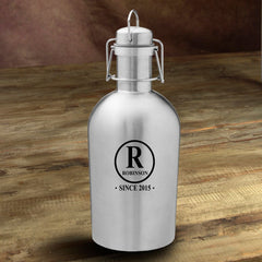 Personalized Stainless Steel Beer Growler - Initial