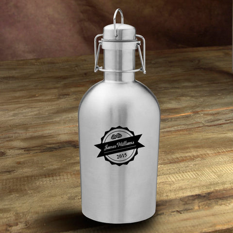 Personalized Stainless Steel Beer Growler - Bottle Top - Personalized Barware - AGiftPersonalized