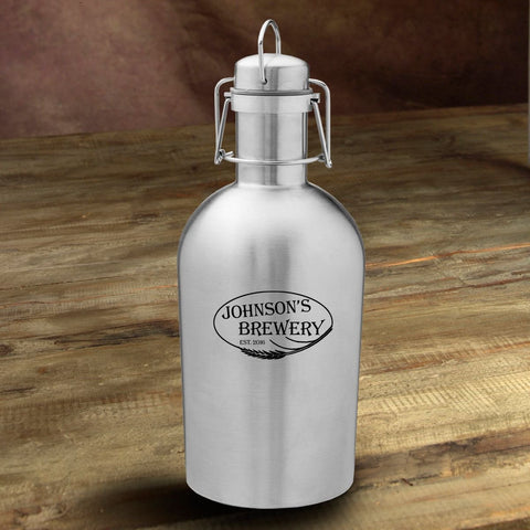 Personalized Stainless Steel Beer Growler - Weizen - Personalized Barware - AGiftPersonalized