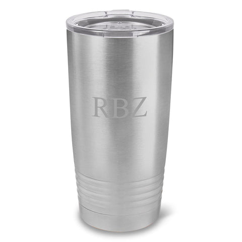 Personalized Húsavík 20 oz. Stainless Silver Double Wall Insulated Tumbler - All - 3Initials